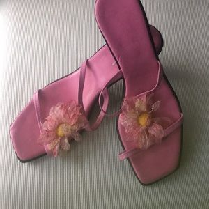 Shoes - Pink Sunflower Thin Strap Sandal